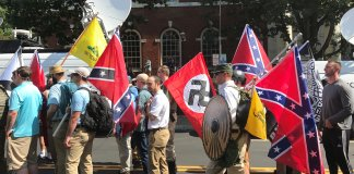 "On Aug. 12 last year white supremacist groups entered Emancipation Park holding Nazi, Confederate, and Gadsden ""Don't Tread on Me"" flags. (Anthony Crider/Creative Commons)"
