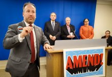 OneVirginia2021 Executive Director Brian Cannon speaks at a news conference on Feb. 12 in support of a constitutional amendment on redistricting reform. (Ned Oliver/Virginia Mercury)